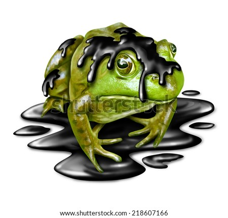 Polluted fauna and oil disaster victim concept as a dirty green frog with black crude petroleum liquid dripping from its amphibian skin as a symbol for the dangers of toxic waste in a habitat. - stock photo