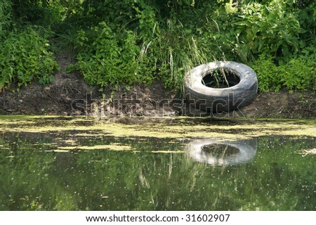 Polluted Lake Shore. Earth ecology - stock photo