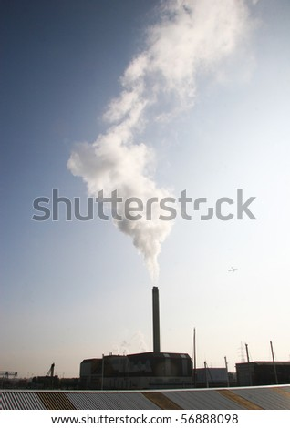 polluting fumes and smoke from industrial chemical site
