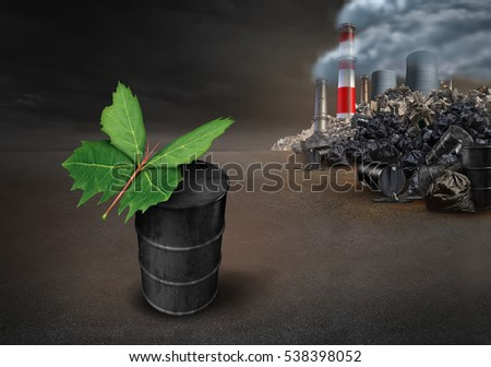 Pollution conservation hope environmental concept as a leaf shaped as a butterfly on an old dirty petroleum oil can with industrial urban pollution landscape with 3D illustration elements.
