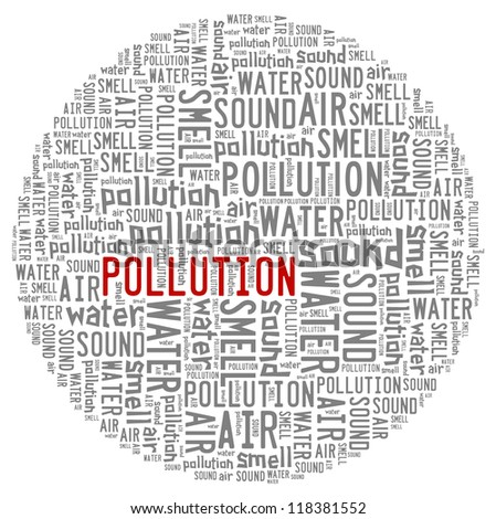 pollution environment info-text graphics with circle shape