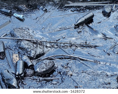 Pollution in Havana bay. Cuba - stock photo