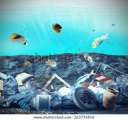 Pollution in the seabed because of humans - stock photo