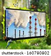 pollution of the environment. TV panel as a window cleaner of forests in the polluted atmosphere. - stock photo
