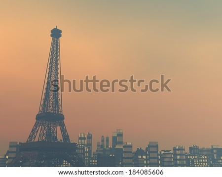 Pollution smog surrounding Paris city by sunset, France - stock photo