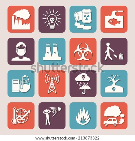Pollution toxic environment damage radioactive garbage and contamination silhouette icons isolated  illustration - stock photo