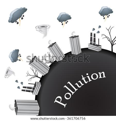 pollution world - stock photo