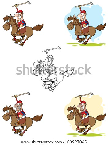 Polo Player Holding Up A Stick. Raster Illustration.Vector version also available in portfolio.