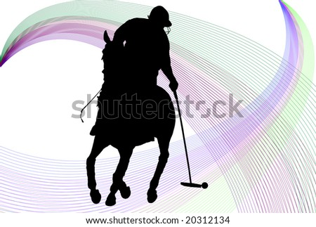 Polo player silhouette over white background with colored lines - stock photo