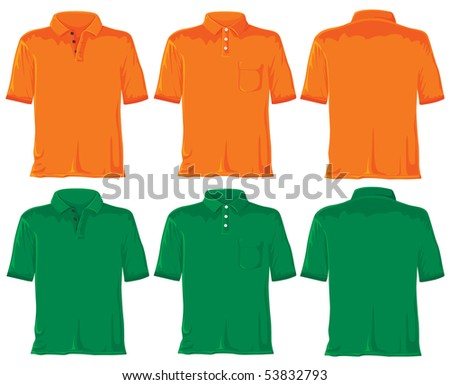 Polo shirt set. Without gradients, great for printing. Orange & green. JPEG version - stock photo