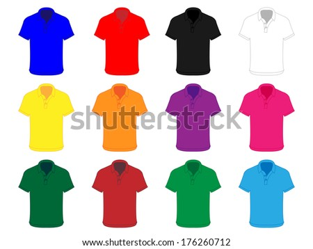 Polo Shirts in Different Colours - stock photo