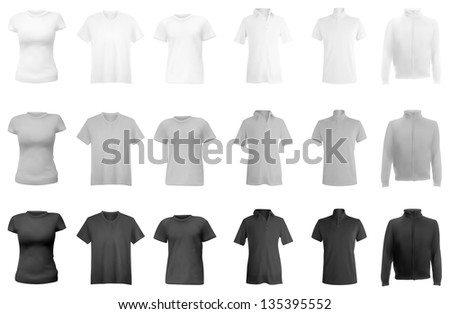 Polo shirts, t-shirts and hoodie set. - stock photo