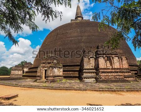Polonnaruwa ruin was the second capital of Sri Lanka after the destruction of Polonnaruwa. The photograph is presenting Buddhist Stupa. Sri Lanka - stock photo