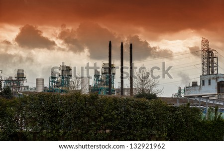 Polution by energy station - stock photo