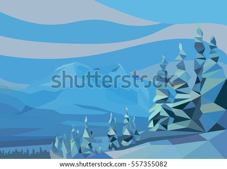 polygon landscape.  illustration. snow mountains and trees