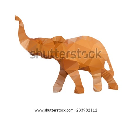 Polygonal illustration of head of elephant isolated on white background - stock photo