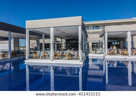 polygyros greece may 15 2016 main restaurant of blue lagoon princess hotel - Beach Style Restaurant 2016