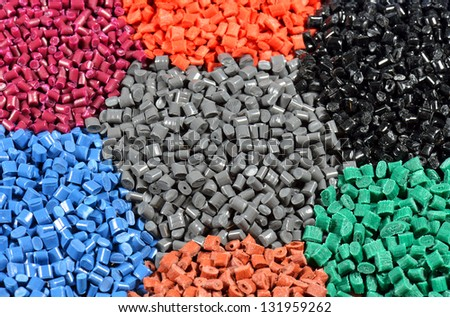 polymer pellets tinted in different colours - stock photo