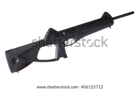 Polymer stocked semi automatic carbine isolated on white - stock photo