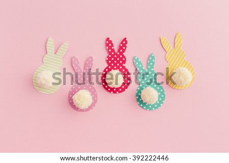 Pom Pom Easter Bunny Craft - stock photo