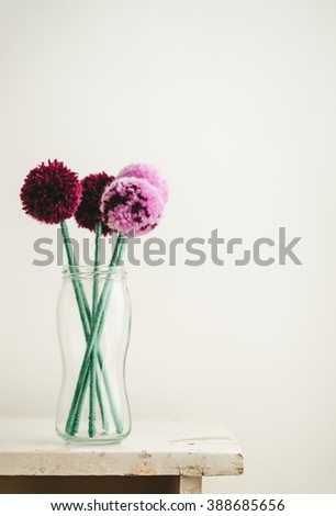 Pom Pom Flowers Bouquet - stock photo