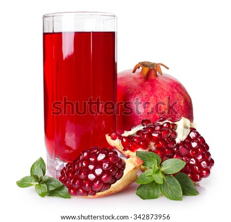 pomegranate and juice isolated on white background - stock photo