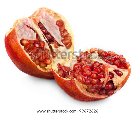 Pomegranate fruit on a white background.