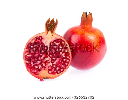 pomegranate fruit with half isolated on white background