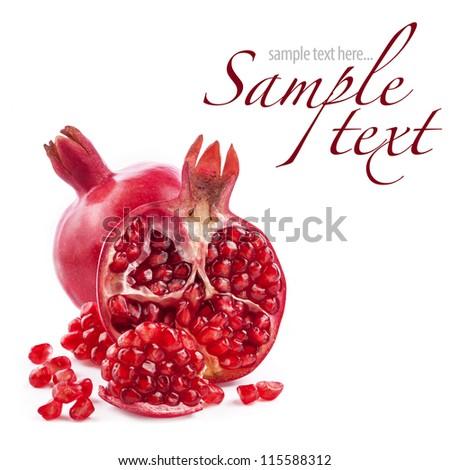 Pomegranate fruits isolated on white background - stock photo