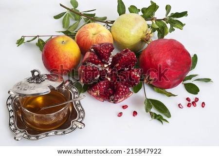 pomegranate,honey and apple for Rosh Hashana jewish new year - stock photo