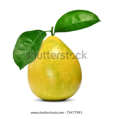 Pomelo fruit with leaves isolated on white
