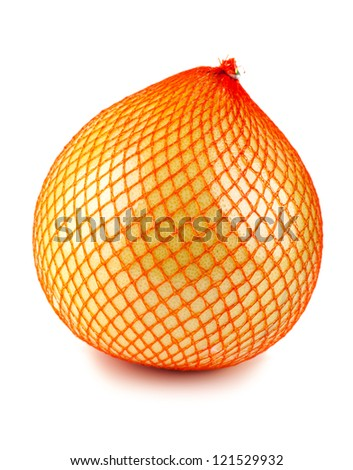 Pomelo fruit wrapped in red plastic reticle isolated on white background - stock photo