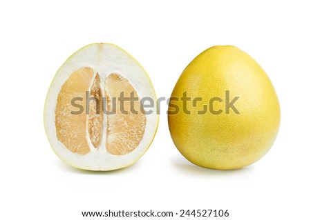 pomelo fruits isolated on white background with clipping path - stock photo