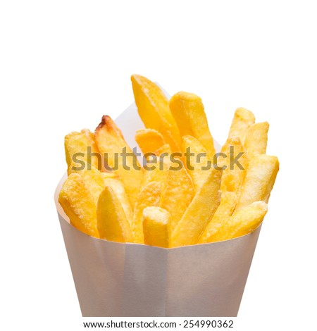 Pommes frites in a bag on white background - stock photo