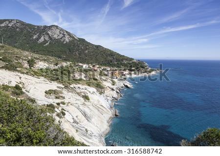 Pomonte, at the west coast of Elba, Tuscany, Italy, Europe - stock photo