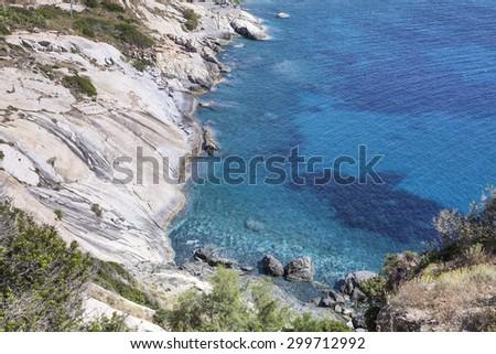 Pomonte, village at the west coast of Elba, Tuscany, Italy, Europe - stock photo