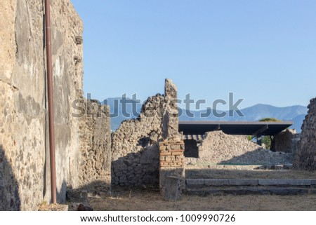 Pompei, Campania / Italy - 20 August 2016: Archeological site of Pompei
