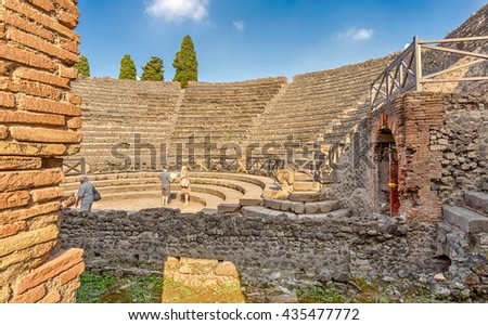 Pompei, Italy - September 8, 2014: Grand Theatre in Pompeii. - stock photo