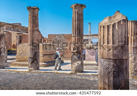 Pompei, Italy - September 8, 2014: The ruins of the Temple of Isis in Pompeii, Italy. - stock photo