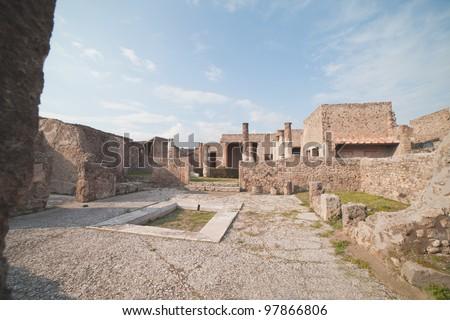 Pompei ruins in Italy. - stock photo
