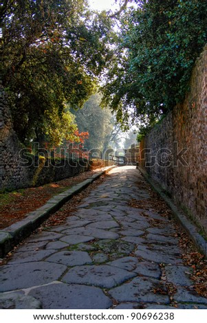 Pompeii ancient street. Italy - stock photo