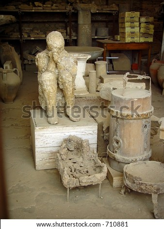 Pompeii body cast of a man covered in ash - stock photo