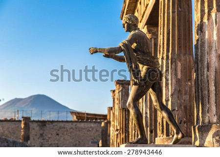 Pompeii city  destroyed  in 79BC by the eruption of Mount Vesuvius - stock photo