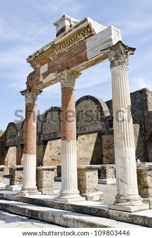 POMPEII, ITALY - CIRCA APRIL 2012: The ruins of the Roman city of Pompeii circa April 2012 in Pompeii. Pompeii, a ruined Roman city near modern Naples in region of Campania, southern Italy. - stock photo