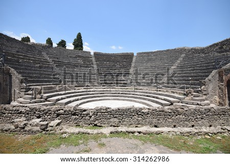 Pompeii - Italy. Pompeii is an ancient Roman city died from the eruption of Mount Vesuvius - stock photo