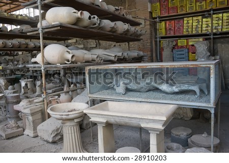 Pompeii man covered in ash - stock photo