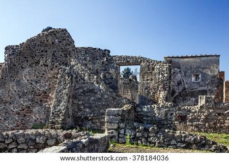 Pompeii, Naples, Italy. Ancient Roman city ruins - stock photo