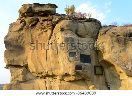 Pompeys Pillar National Monument inscriptions - stock photo