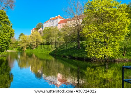 Pond and park close to wall of old town. Tallinn, Estonia, Baltic States, Europe - stock photo