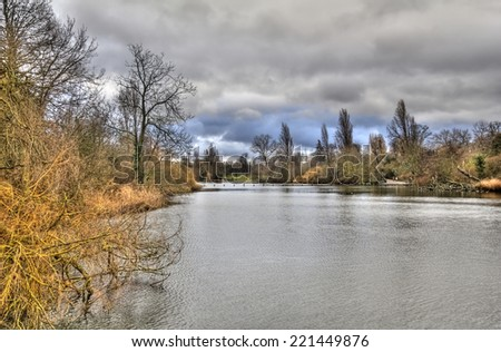 Pond and trees in garden in late autumn in London, UK - stock photo